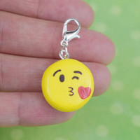 Cute Kissing Face Emoji Charm | Polymer Clay | Kawaii and Fun Handmade Gift |