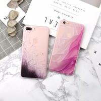 Fashion Gradient Flowers Grass Case For iphone X Case 3D Relief Colorful painting Soft TPU