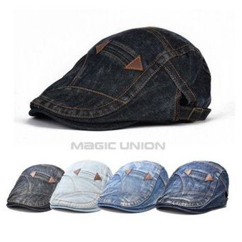 CREYUG3 New Fashion Spring Summer Jeans Hats for Men Women High Quality Casual Unisex Denim Beret Caps OutDoors Flat Sun Cap for Cowboy [9221460612]