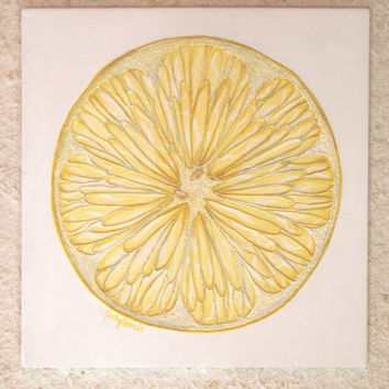Citron II String Painting - Textured Abstract Lemon Art - Yellow and White