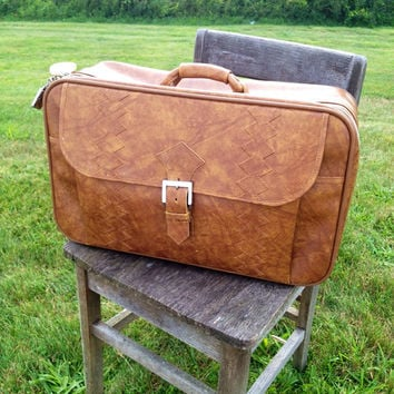 Vintage Le Gran By American Tourister Leather Luggage Suitcase 70s 80s 90s