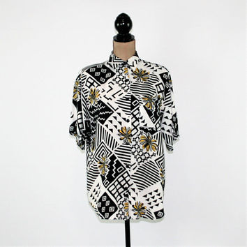 Vintage 80s Shirt Women Short Sleeve Blouse Button Up Top Oversized Rayon Black White Geometric Yellow Flower Medium Large Vintage Clothing