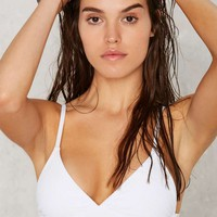 Nasty Gal Alina Mix & Match Plunging Bikini Top - White
