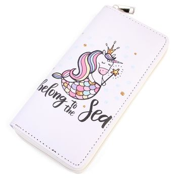 Sea Unicorn Print Single Zipper Wallet