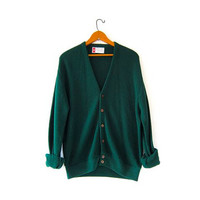 Vintage green cardigan sweater. Boyfriend sweater. Slouchy knit cardigan.