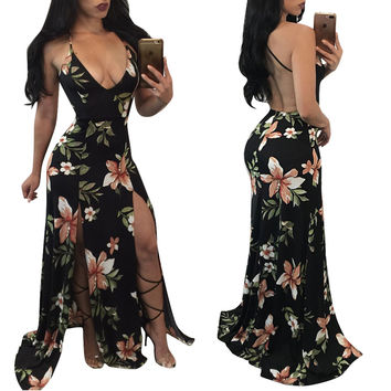 Flower Black Open Back Slit Dress