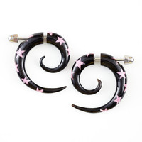 Fake Gauge Earrings - Horn Spiral Earrings with Pink Star
