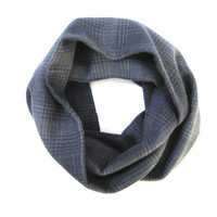 Kids Flannel Scarf Plaid Scarf Toddler Scarf Child's Winter Scarf Unisex Scarf Navy Blue Grey Ready to Ship