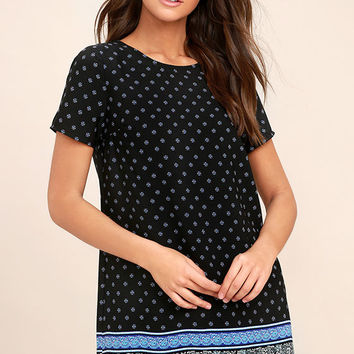 Dandy Lion Black Print Shift Dress