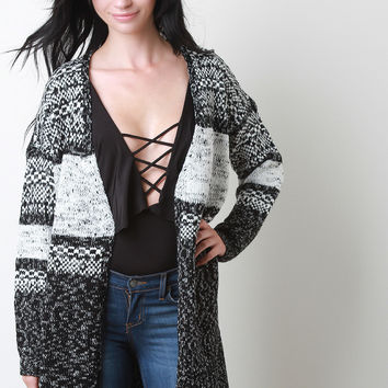 Melange Thick Knit Open Front Cardigan