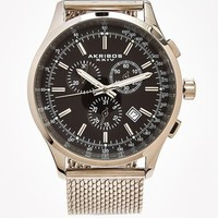 Chronograph Black and Silver Mesh Bracelet Watch