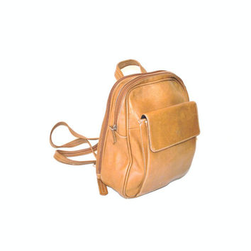 vintage leather backpack / MINIMALIST caramel mid sized slouchy GRUNGE book bag