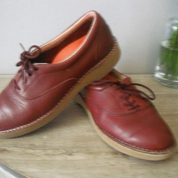 vintage leather RocSports by Rockport .. Burgundy Brick Red ... Granny shoes Loafers Hipster .. Indie COOL 6