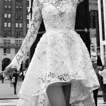 White V-Neck Long Sleeve Lace Dress from brooke & west | Things I