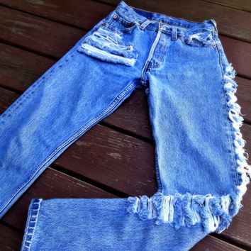 Vintage High Waist Distressed Denim Pants