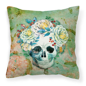 Day of the Dead Skull with Flowers Fabric Decorative Pillow BB5124PW1414