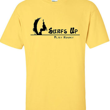 Surfs Up Play Hooky Surfer T-Shirt in Various Colors, 100% Cotton, Screen Printed Design, Hang Ten Dude!