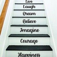 Happiness Courage Imagine Stairs Quote Wall Decal Sticker Decor Room Art Vinyl Joy Peace Fitness Family Home House Staircase Love Beautiful Inspirational Laugh Love Live