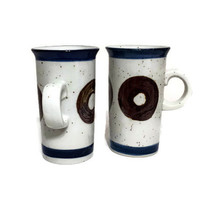 Otagiri Style Espresso or Demitasse Mugs Tall Skinny Coffee Cups Blue Brown Donuts Mid Century Kitchen