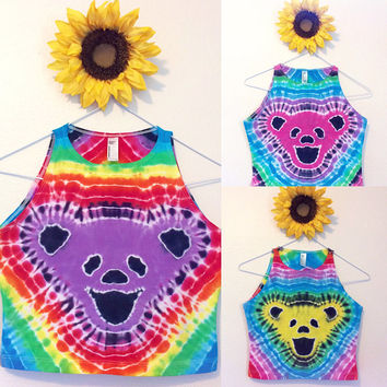 Custom Grateful Dead Tie Dye Crop Top