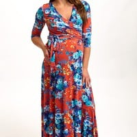 Red Floral Draped 3/4 Sleeve Maternity Maxi Dress