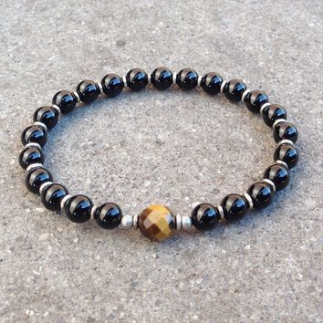 Patience and Abundance, Onyx and Tiger's Eye Guru Bead Mala Bracelet