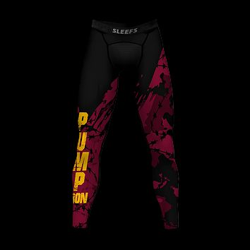 Pump Iron Maroon Black Tights for men