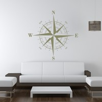 Compass Rose Nautical Vinyl Wall Decal 36""