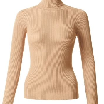 LE3NO Womens Fitted Long Sleeve Turtleneck Sweater