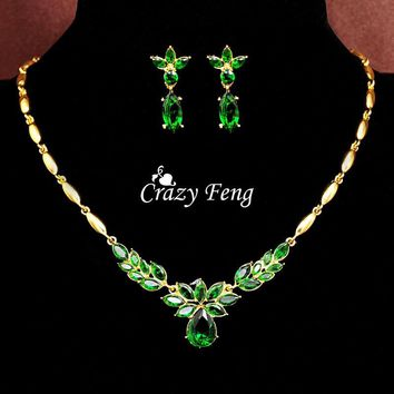 Crazy Feng Wedding Jewelry Sets Luxury CZ Crystal Necklace Drop Earrings Pendant Free Gold-color Mother's Day Gift