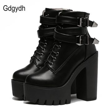 Gdgydh High Heels Platform Buckle Lace Up Leather Short Booties Black Ladies Shoes