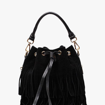 Black Suede Leather Bucket Bag
