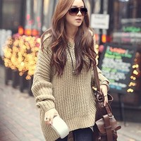 Irregular loose hooded sweater BBBBF