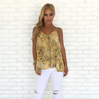 Sunflower Floral Print Tank Top