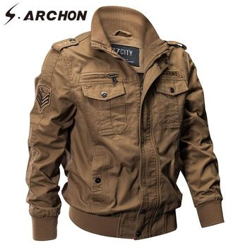 Trendy S.ARCHON US Army Military Pilot Jackets Men Autumn Winter Cotton Tactical Air Force Outerwear Coats Male Warm Army Flight Jacket AT_94_13