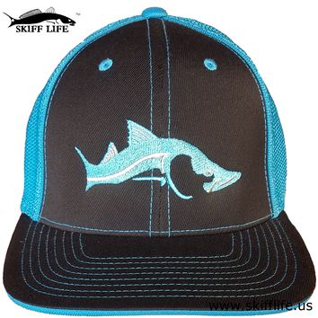 Flexfit Snook Fishing Hat Neon Blue and Silver