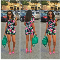 Black Floral Print Short Sleeve High Waisted Romper