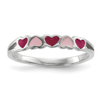 Sterling Silver Children's Enameled Hearts Ring
