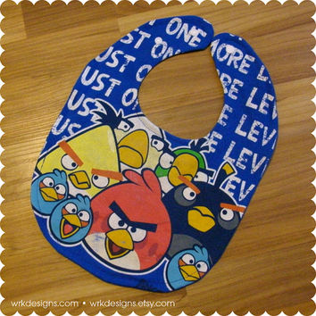 Angry Birds Baby Bib - Recycled T-Shirt Bib - Reversible - OOAK - Video Games - Baby Boy