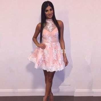 Pink and Ivory Short Sexy Cocktail Dresses Prom Dresses Lace Open Back Coctail robe de Cocktail Party Dresses