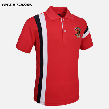 LUCKY SAILING Men's Brand T-Shirt Men Golf Polo cotton tops & tees Short Sleeve Golf Shirts Quick Dry Fit Plus Size M-XXXL