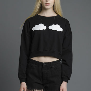 Overcast Clouds Cropped Sweatshirt