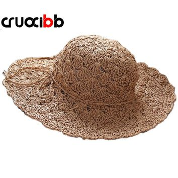 CRUOXIBB 2017 Fashion Summer Women's  Sun Hat Gorras Ladies Wide Brim Straw Hats Hollow Foldable Beach Panama Hat UV Protection