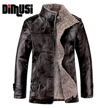 Leather Jacket Men Winter Thick Inner Wool PU Leather Coat Men Casual Thermal Stand CollarFaux Leather Coat Warm Jacket,YA466
