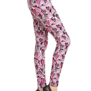 Women's Valentine's Day Graphic Heart Leggings Pink/Gray: OS/PLUS
