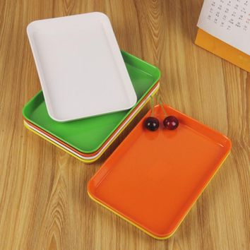 Melamine fashion rectangle fruit plate snacks dessert cake pan plastic plate multicolour melamine tableware 20.8*14.5*1.9cm