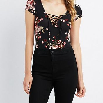 Floral Lace-Up Bodysuit