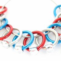 Medium stitch markers for knitting | snag-free stitchmarker | dangle-free | tools | red, silver, blue rings; clear silver beads | #0130