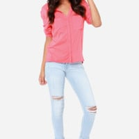Flying Monkey Mary Jean Distressed Light Wash Skinny Jeans