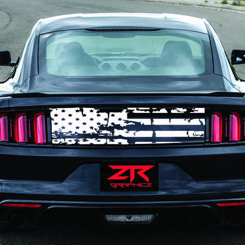 2005-2017 Ford Mustang Distressed Flag Trunk Lid  Decal